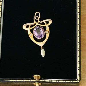 Fine, Art Nouveau 9ct, 9k, 375 Rose Gold Amethyst & seed pearl lavaliere pendant