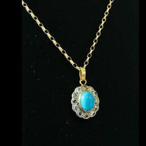 Fine, Art Nouveau 18ct, 18k, 750 Gold Turquoise and diamond pendant on 9ct chain