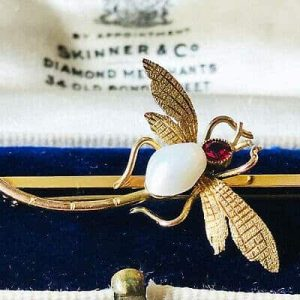 Art Nouveau 18ct, 18k, 750 Gold blister Pearl and Garnet Dragonfly brooch, pin