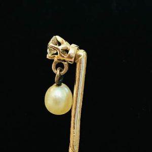 Art Nouveau 15ct, 15k, 625 Rose Gold Pearl & Diamond Stick, tie, cravat pin