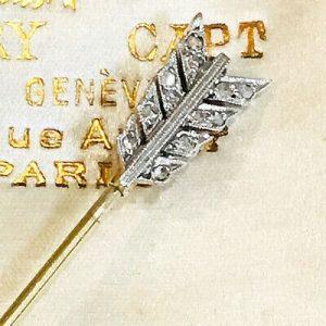 "Fine ART DECO Platinum & 15 carat Gold Diamond ""Love"" Arrow Jabot brooch, pin"