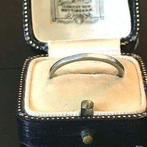 Art Deco Platinum, bevelled design wedding band, slim stacker ring, Circa 1935