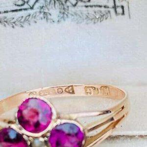 Antique, 9ct, 9k rose gold, Tourmaline & Pearl quartrefoil ring, Chester 1913