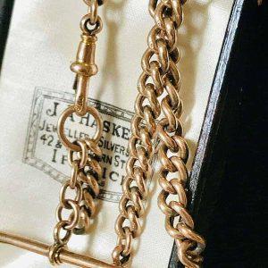 Quality, Edwardian 9ct, 9k, 375 Rose Gold Albert chain, T-bar & Dog clip fitting