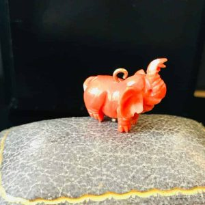 Victorian 14ct, 14k, 585 gold Dark Red Coral carved Elephant Charm 2.9 gms