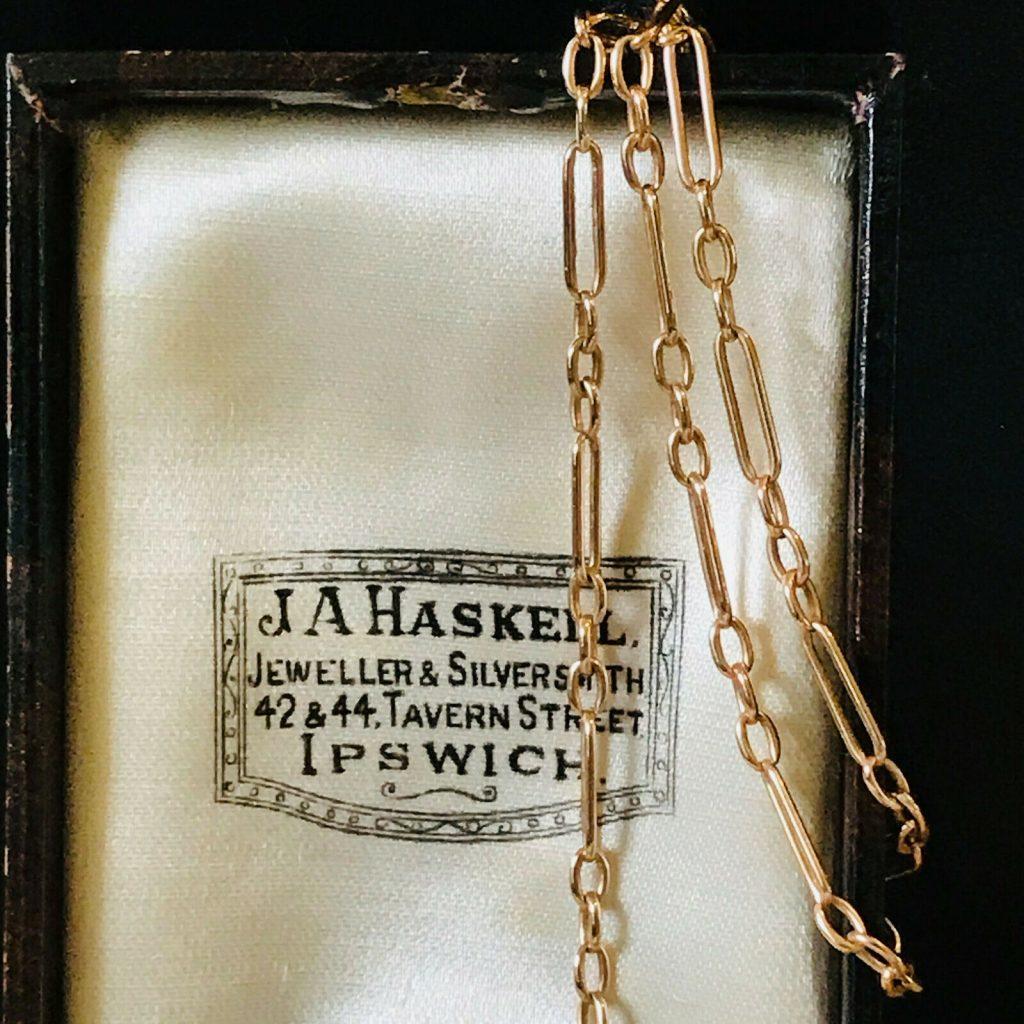 "Lovely Edwardian 9ct, 9k, 375 Rose Gold fancy link chain, length 19"" / 48.5 cm"