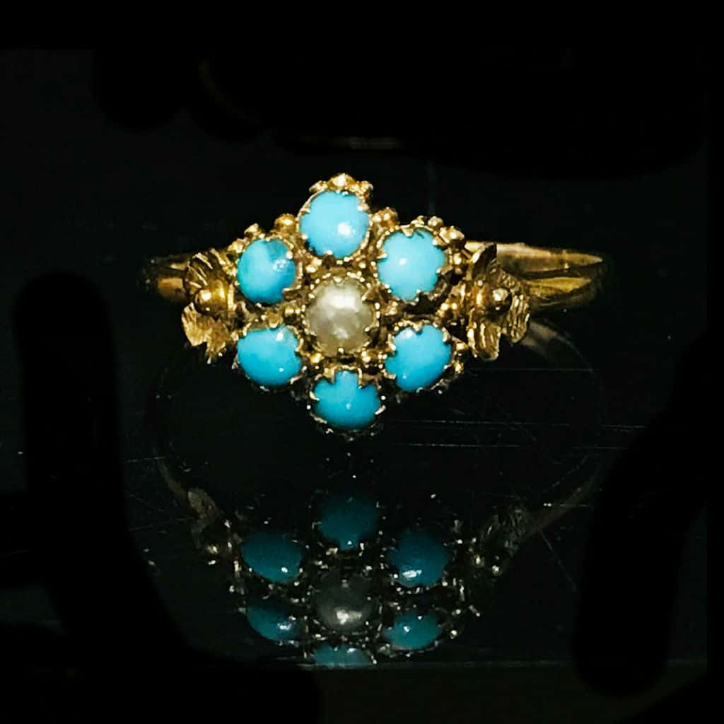 Pretty, Georgian 22ct, 22k, 916 gold Turquoise & Pearl 'forget me knot' ring