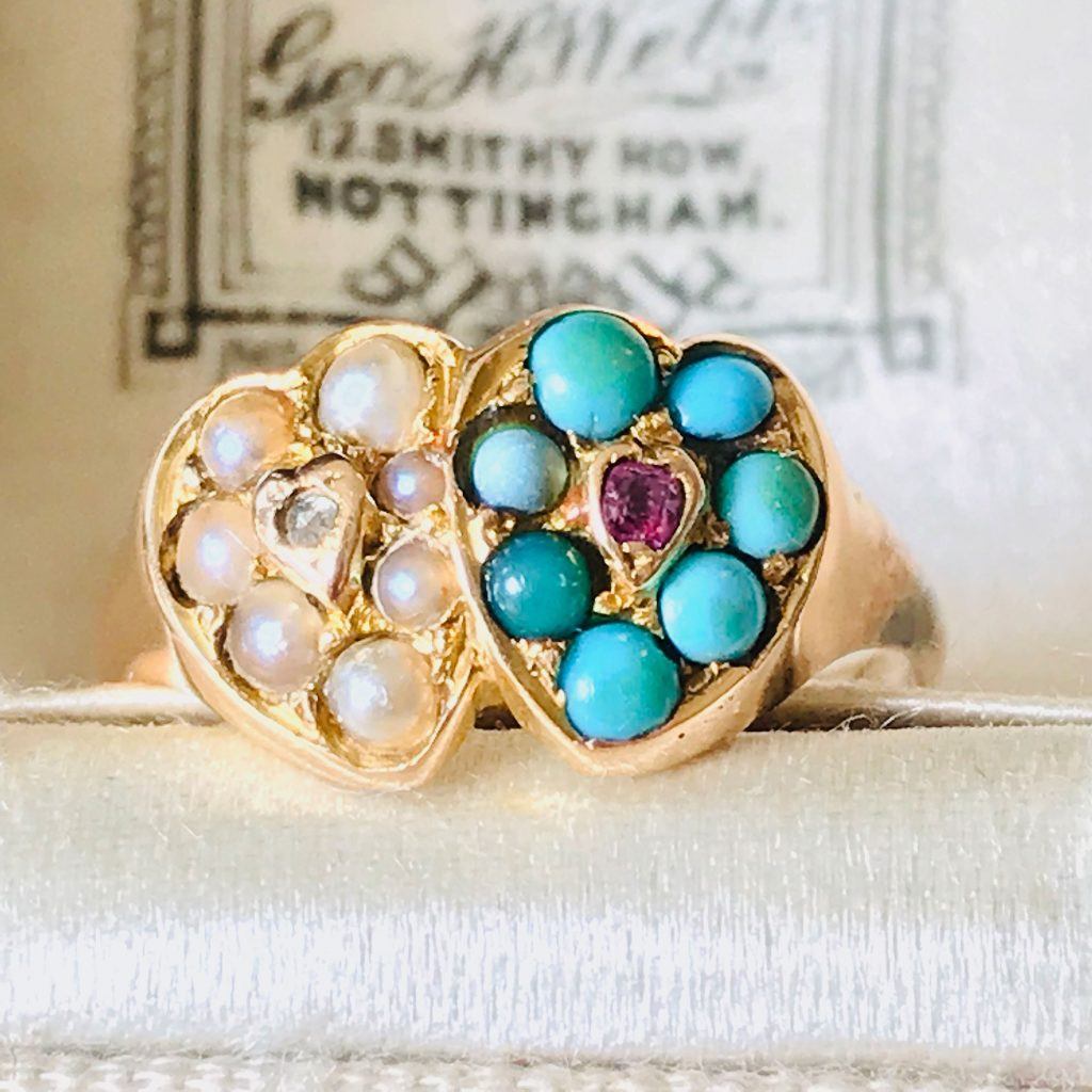 Romantic, Victorian 18ct, 750 gold heart Turquoise, Pearl, Ruby & Diamond ring