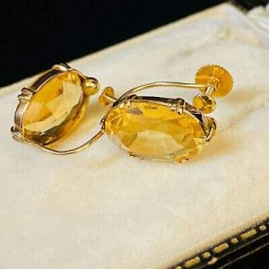 Art Deco 9ct, 9k, 375 Gold Citrine Earrings with screw fittings, Circa 1925