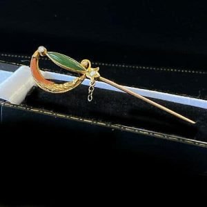 Edwardian 9ct, 9k, 375 Gold Jade, Pearl and Agate Sword, Sabre stick, tie pin