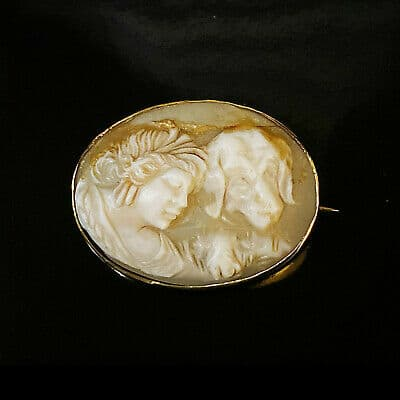 Rare, Art Nouveau 9ct, 9k, 375 Gold Cameo Girl and dog brooch, pin, Circa 1895