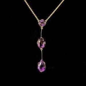 Exquisite, Edwardian 9ct, 9k, 375 Gold Amethyst, triple drop Lavalier, Necklace