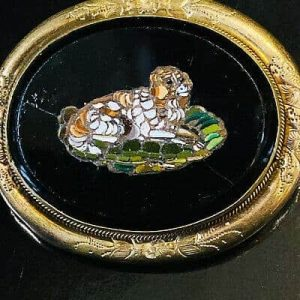 Antique, Victorian, Gilt Micro Mosaic, King Charles Spaniel, dog brooch, C1860