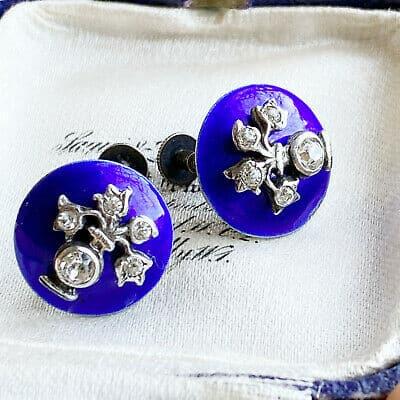Victorian Silver, blue Enamel & black dot paste, earrings, screw on fittings