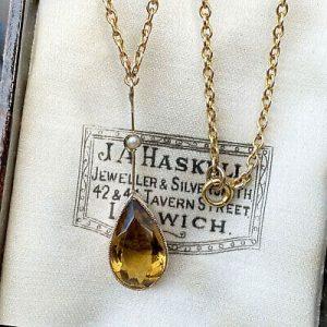 Exquisite, Edwardian 9ct, 9k, 375 Gold Citrine & Pearl, drop Necklace, Lavaliere