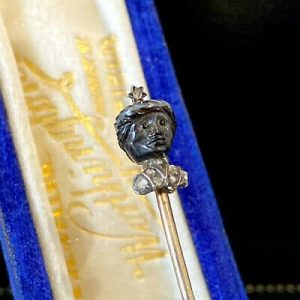 Rare, Victorian 15ct, 15k, 625 Gold Blackamoor & rose-cut Diamond bust stick pin