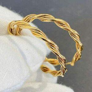 Vintage 9ct, 9k, 375 Gold, large twist hoop earrings, Width: 35mm, in new box