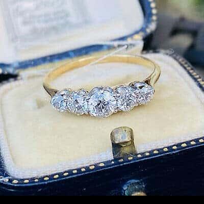 Antique Edwardian 18ct, 18k, 750 Gold & Platinum Diamond 0.80ct Five Stone Ring