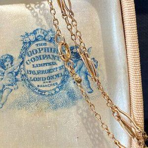 "Pretty, Edwardian 9ct, 9k, 375 Rose Gold fancy link chain, length 17.5"" / 44.5cm"