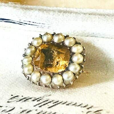 Pretty Georgian gold backed Citrine and natural pearl lace pin, brooch, C1830