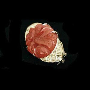 Art Deco 18ct, 18k, 750 White Gold, Diamond & carved Carnelian brooch, C1925