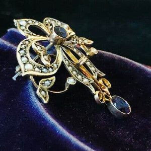 Victorian, Art Nouveau, 9ct, 9k, 375 gold Amethyst & Pearl brooch, pin, C1900