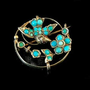 Antique, Victorian Silver,Turquoise glass & red paste swallow & floral brooch