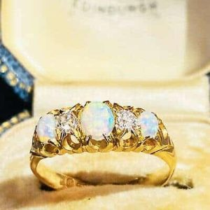 Antique, Victorian 18ct, 18k, 750 Gold Diamond & fiery Opal ring, Chester 1898