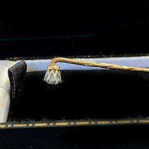 Fine, Edwardian 15ct, 15k, 625 Gold Diamond 0.25ct stick, tie, cravat pin, C1910