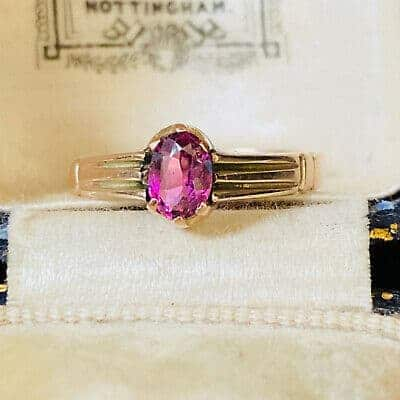 Victorian 15carat rose gold pink tourmaline solitaire ring, Circa 1890