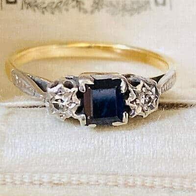 Art Deco 18carat gold Sapphire and diamond three stone engagement ring, C1920