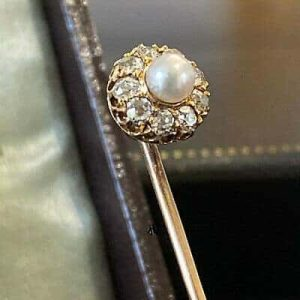 Victorian 18ct 750 Gold Pearl and Rose-cut Diamond cluster stick, tie pin, C1880