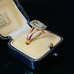 Victorian Rose Gold Natural seed pearl and hair mounted mourning ring, C1860