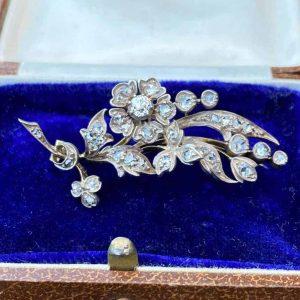 Victorian 18ct carat gold & Silver old european-cut Diamond brooch, pin C1901