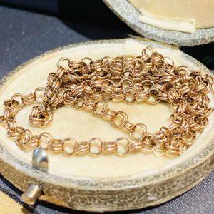 "Fine, Vintage 9ct, 9k, 375 Rose Gold fancy, double link Belcher chain, lgth 20"""