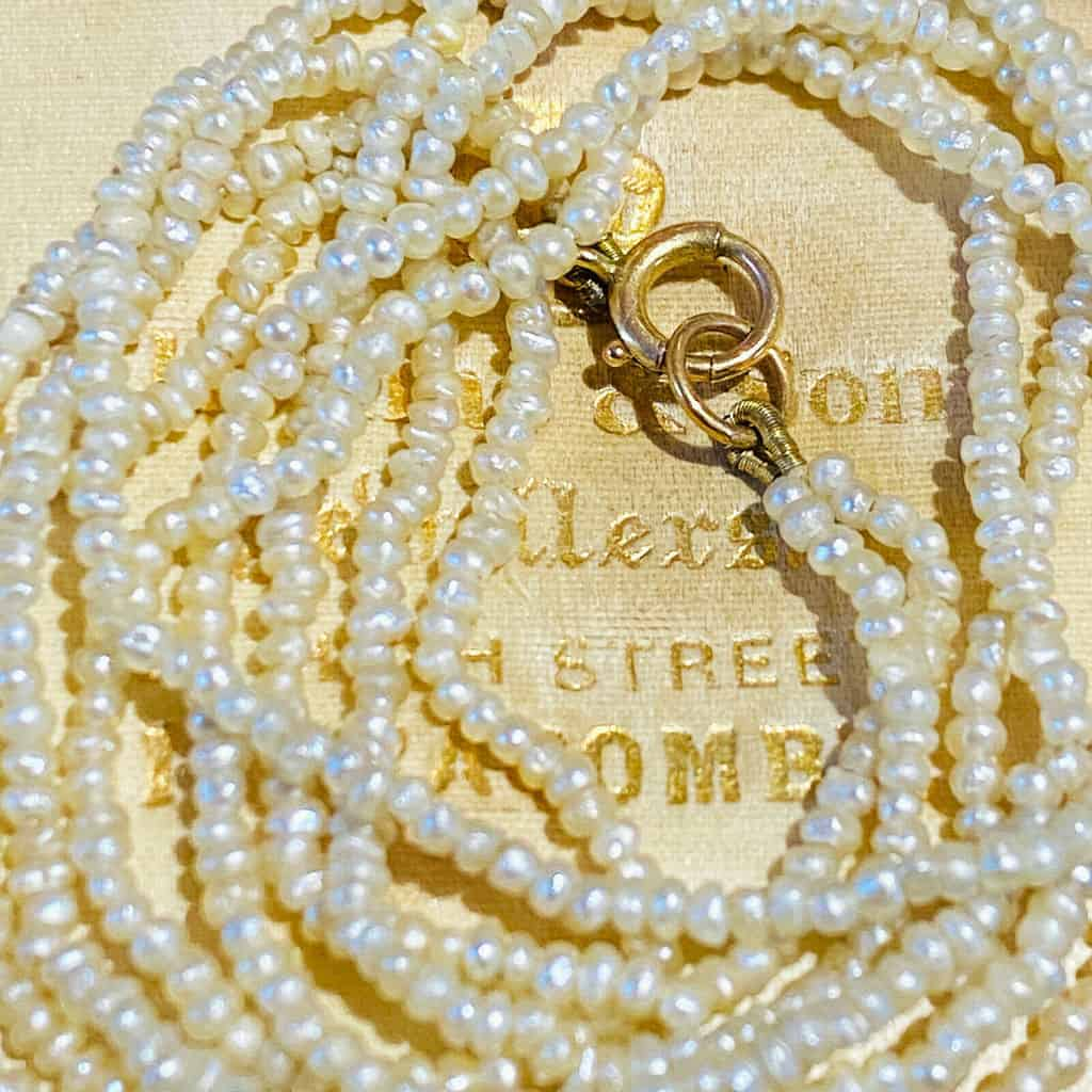 Georgian, Victorian natural, saltwater seed, basra pearl, necklace on 9ct clasp