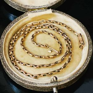"""Lovely Victorian 9ct, 9k, 375 Gold faceted oval, belcher link chain, length 17"""""""