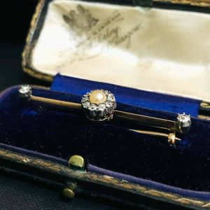 Victorian 15ct Gold, Natural Pearl and old-cut diamond cluster, brooch in box