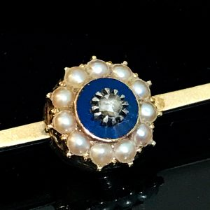 Victorian 9ct, 9k, 375 Gold Rose-cut Diamond, Enamel & Pearl brooch pin, C1860