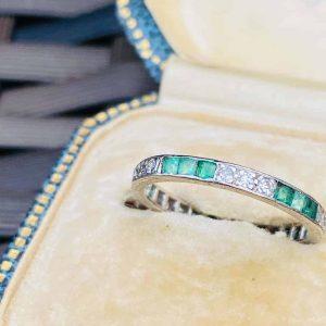 Fine, Art Deco, Emerald & diamond Platinum PT950, Full Eternity, anniversary Ring, Size UK L, USA 6