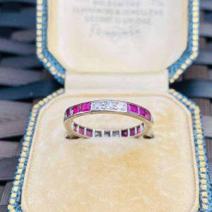 Fine Art Deco Ruby & diamond Platinum PT950, Full Eternity, anniversary Ring, Size UK K, USA 5.5