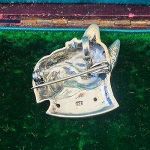 Art Deco, Sterling Silver, Scottie dog with Emerald collar & ruby eye, brooch