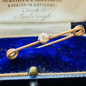 Victorian, 15ct, 15k, 625 Rose Gold, champagne Diamond 0.36ct brooch in box