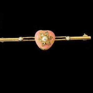 Victorian high carat Gold Guilloche Enamel, Diamond & Pearl heart, brooch, C1890