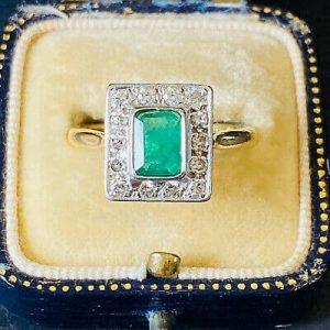 Art Deco 18ct, 18k, 750 Gold Platinum, Emerald & Diamond (1.50ct) Cluster Ring