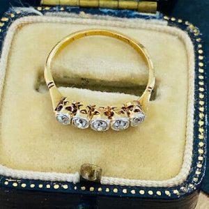 Antique Edwardian 18ct, 18k, 750 Gold Diamond 0.25ct Five Stone Ring, Circa 1901