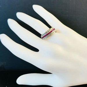Fine, Art Deco 18ct, 18k, 750 gold, Ruby & Diamond half eternity ring, C1920