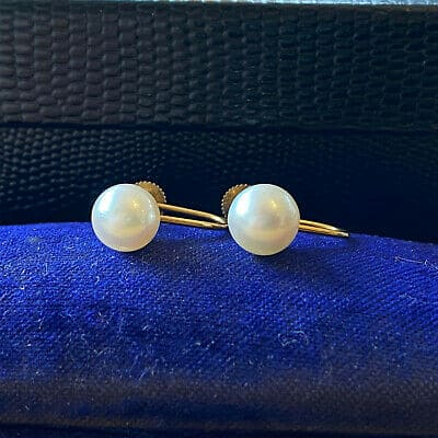Classic 9ct Gold Cultured, Saltwater 7.8mm Pearl Earrings with screw fittings