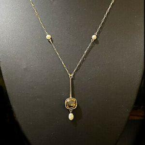 Exquisite, Edwardian 9ct, 9k, 375 Gold Citrine & Pearl, drop Lavalier, Necklace