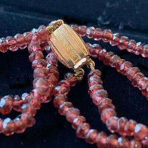 Pretty, Vintage, 9ct, 9k, 375 Rose Gold two row Garnet bead bracelet, Circa 1950